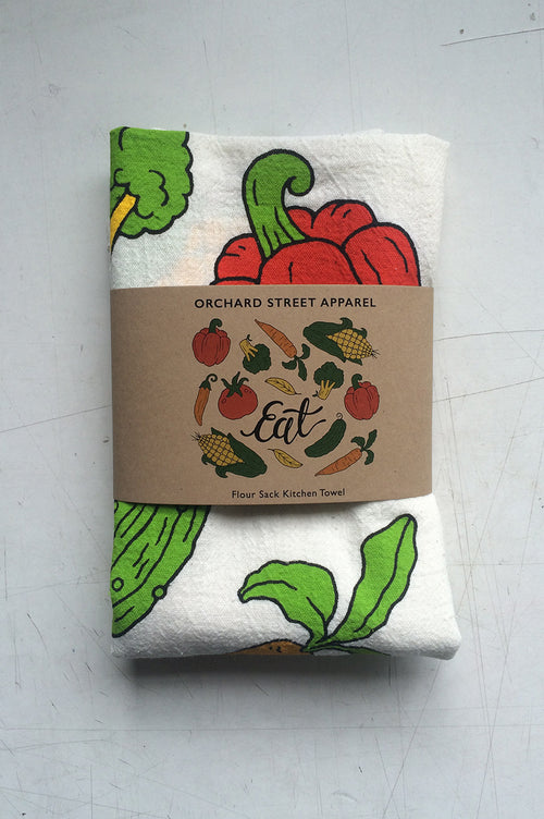 screen printed flour sack kitchen towel