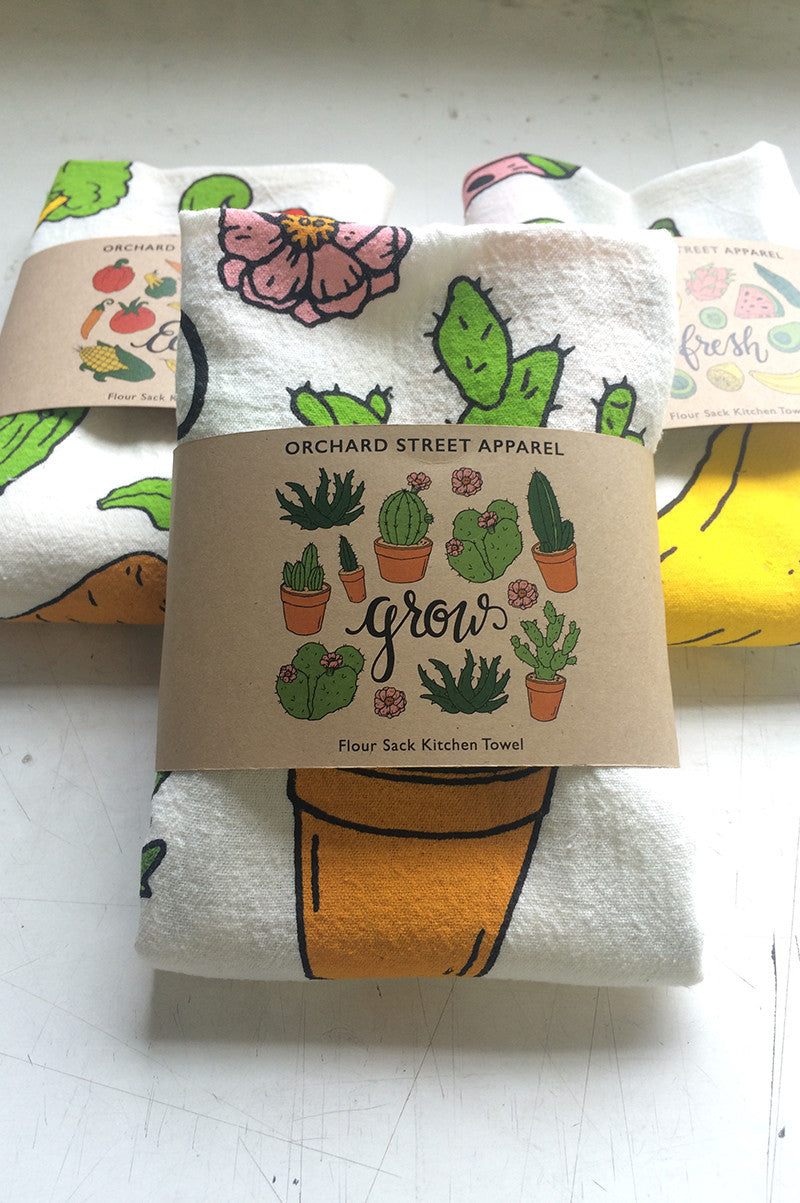 screen printed flour sack kitchen towel gift set
