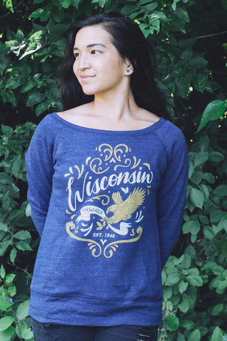 Wisconsin Forward! Triblend Navy Ladies Sweatshirt