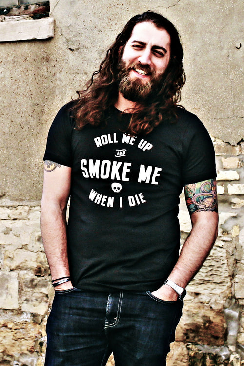 Roll Me Up & Smoke Me Unisex Black T-shirt - Willie Nelson Lyric Slim Fit fashion Tee Country Music