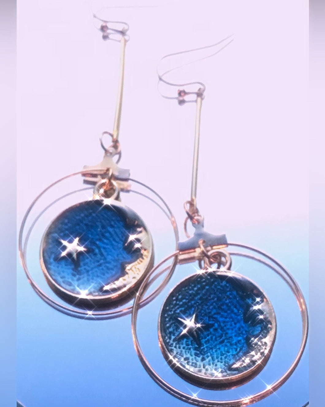 Moon & Sky Dangle Hook Earrings