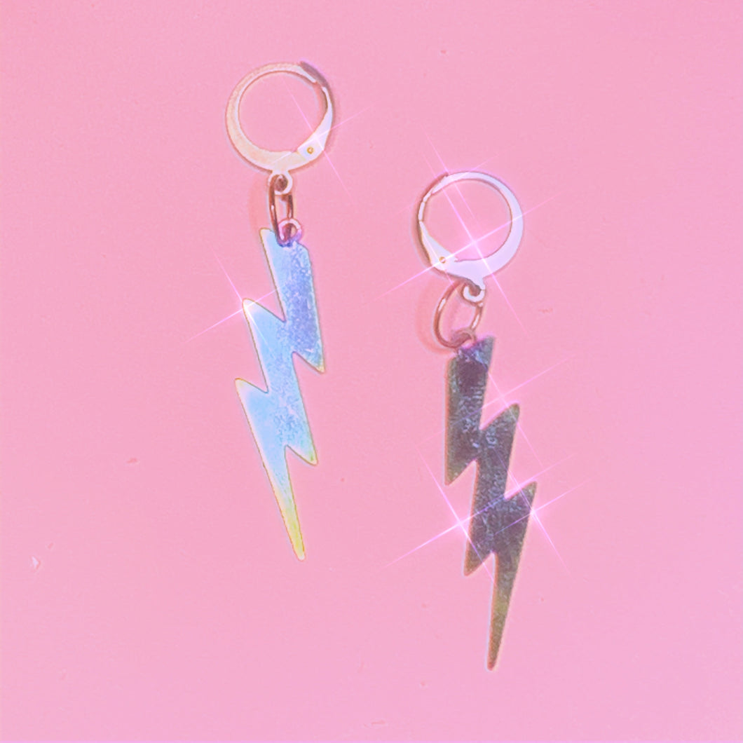 Reflective Lightning Bolt Earrings