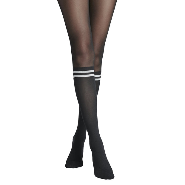 Penti Black White Stripe Fashion Tights - fashiontight.uk