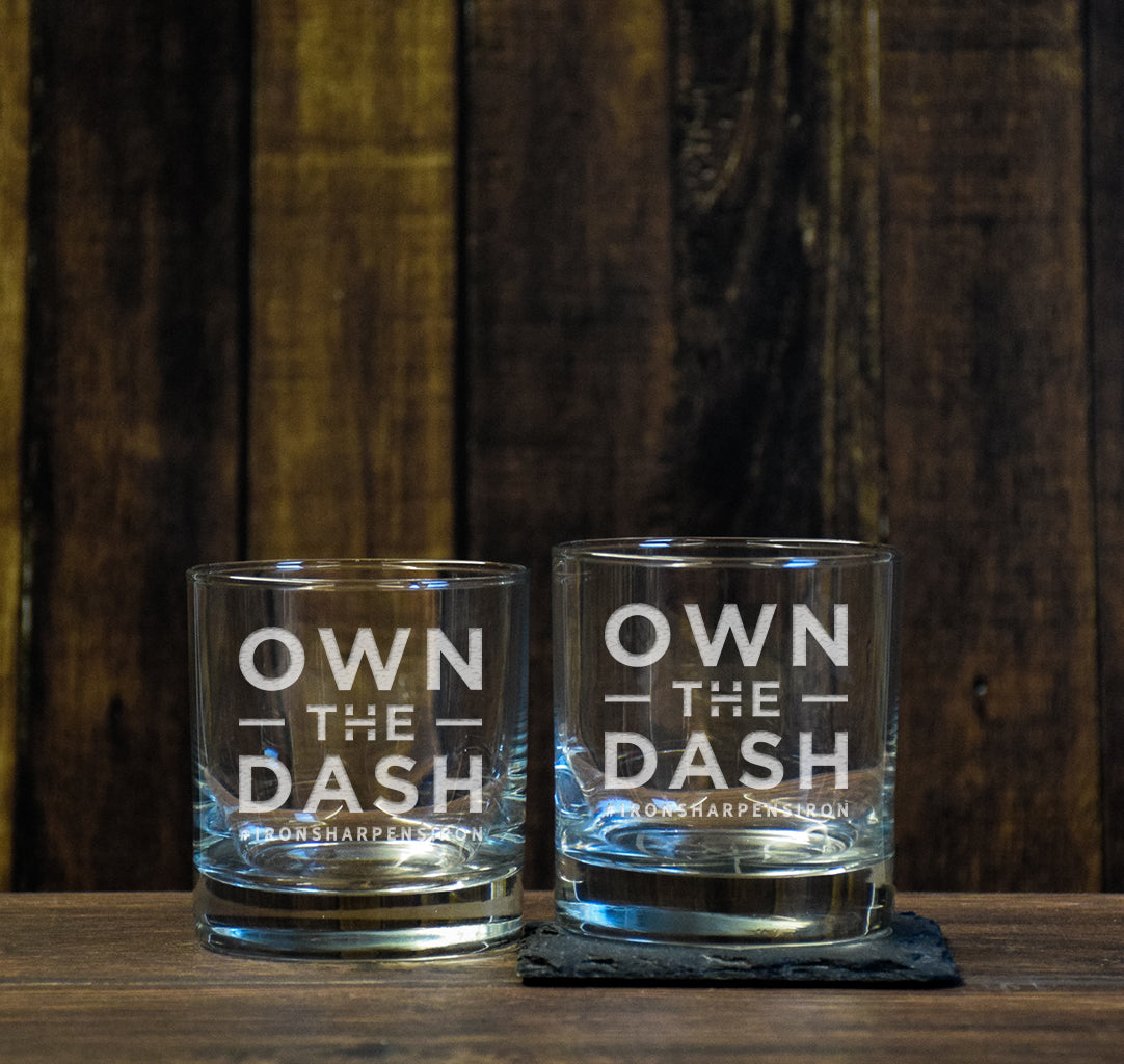 Own The Dash Logo Low Ball Glass Set