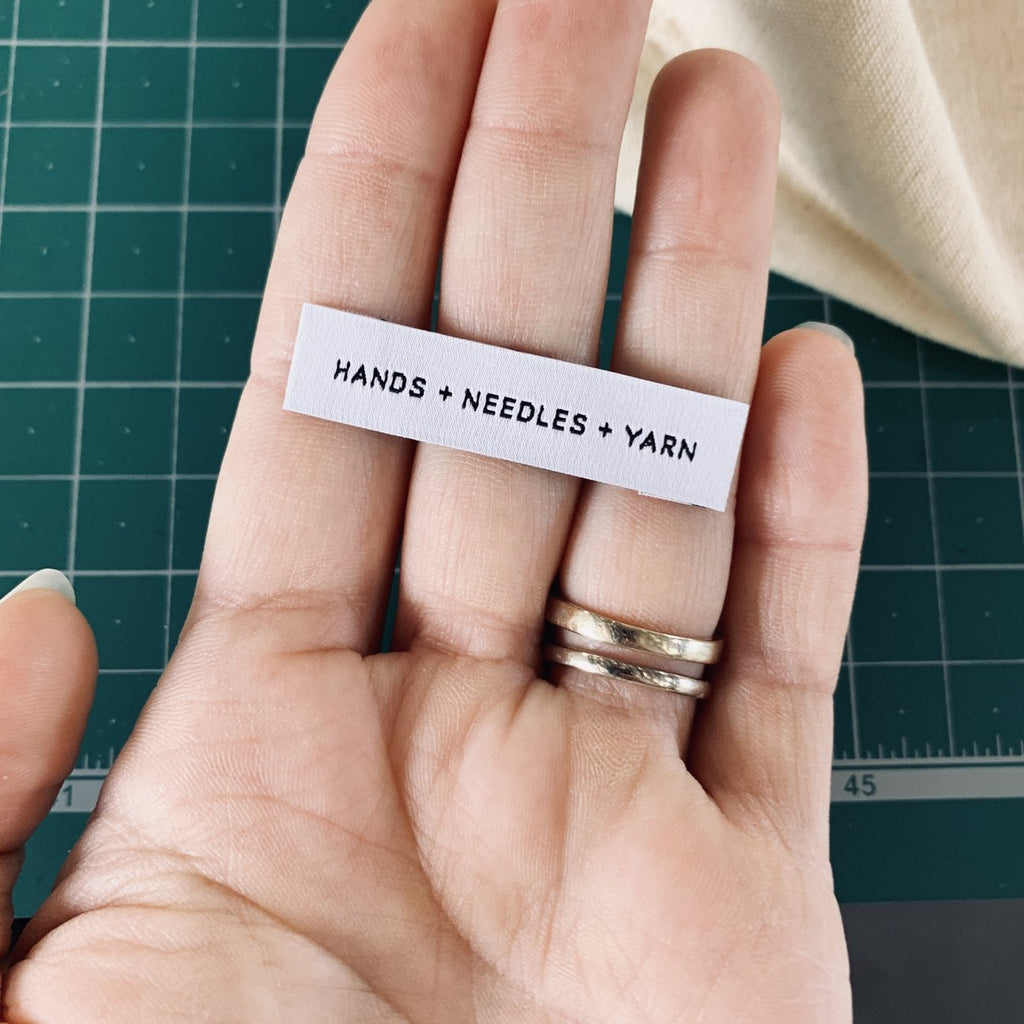 Hands + Needles + Yarn - Woven Label