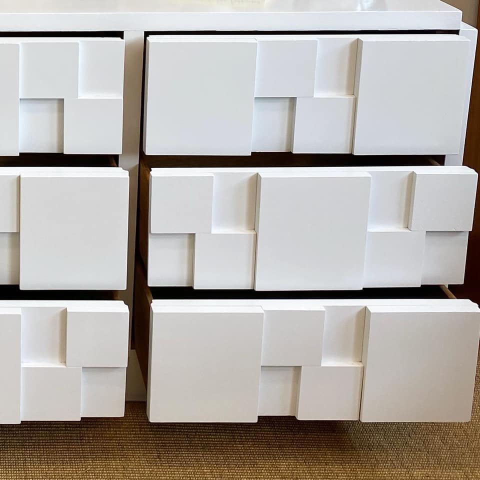 Lane Furniture White Lacquered Brutalist 9-Drawer Credenza
