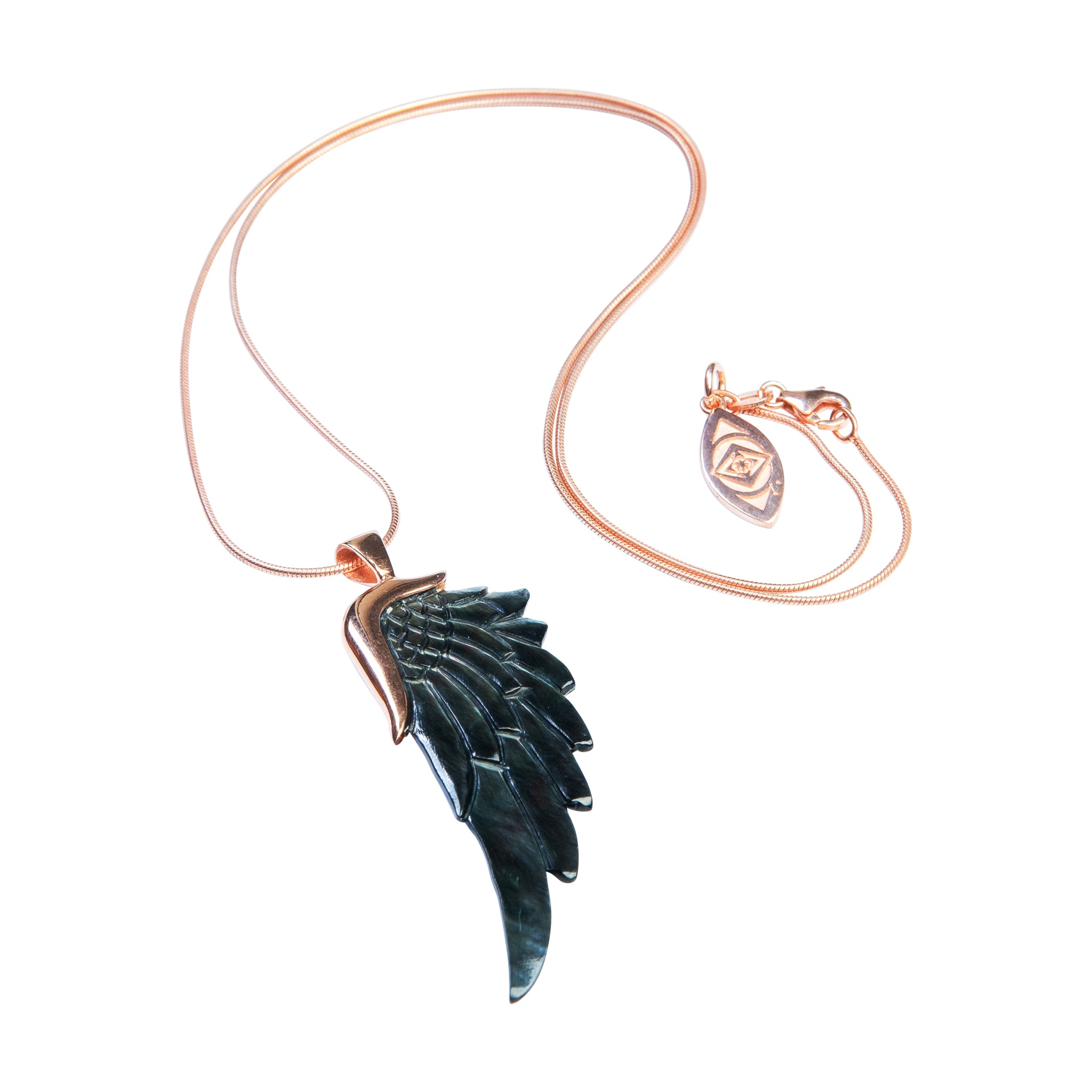 angelica black rose gold angel wing necklace