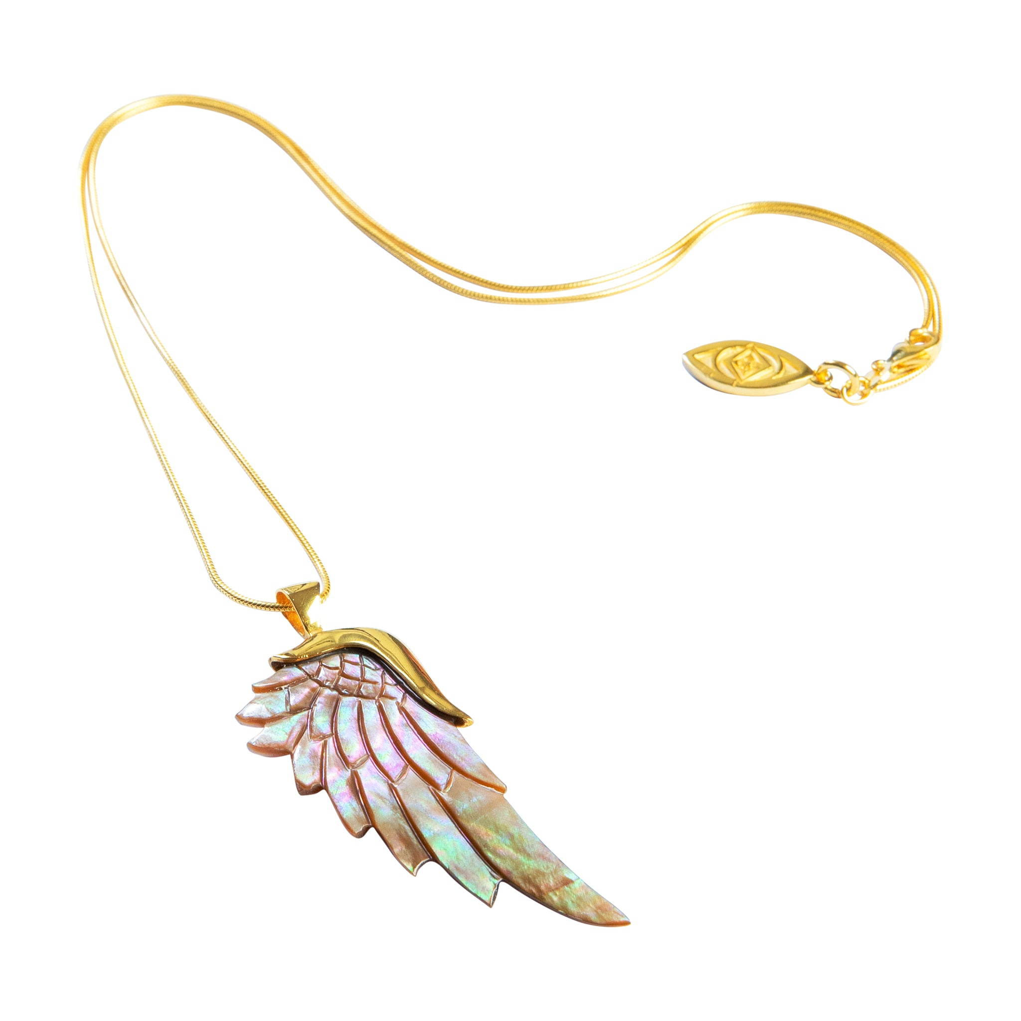 angelica rainbow gold angel wing necklace