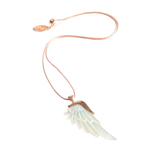 angelica white rose gold angel wing necklace
