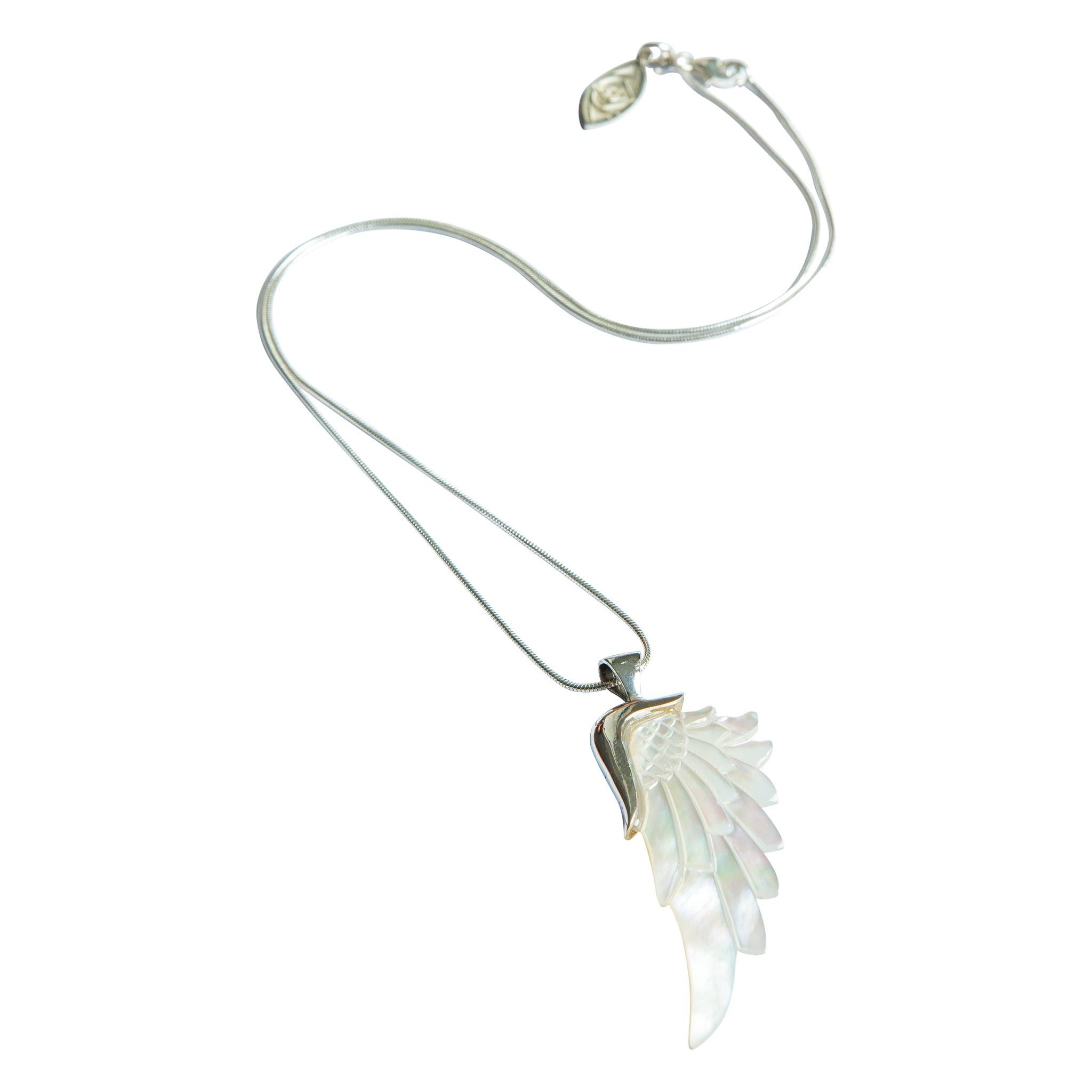 angelica white silver angel wing necklace
