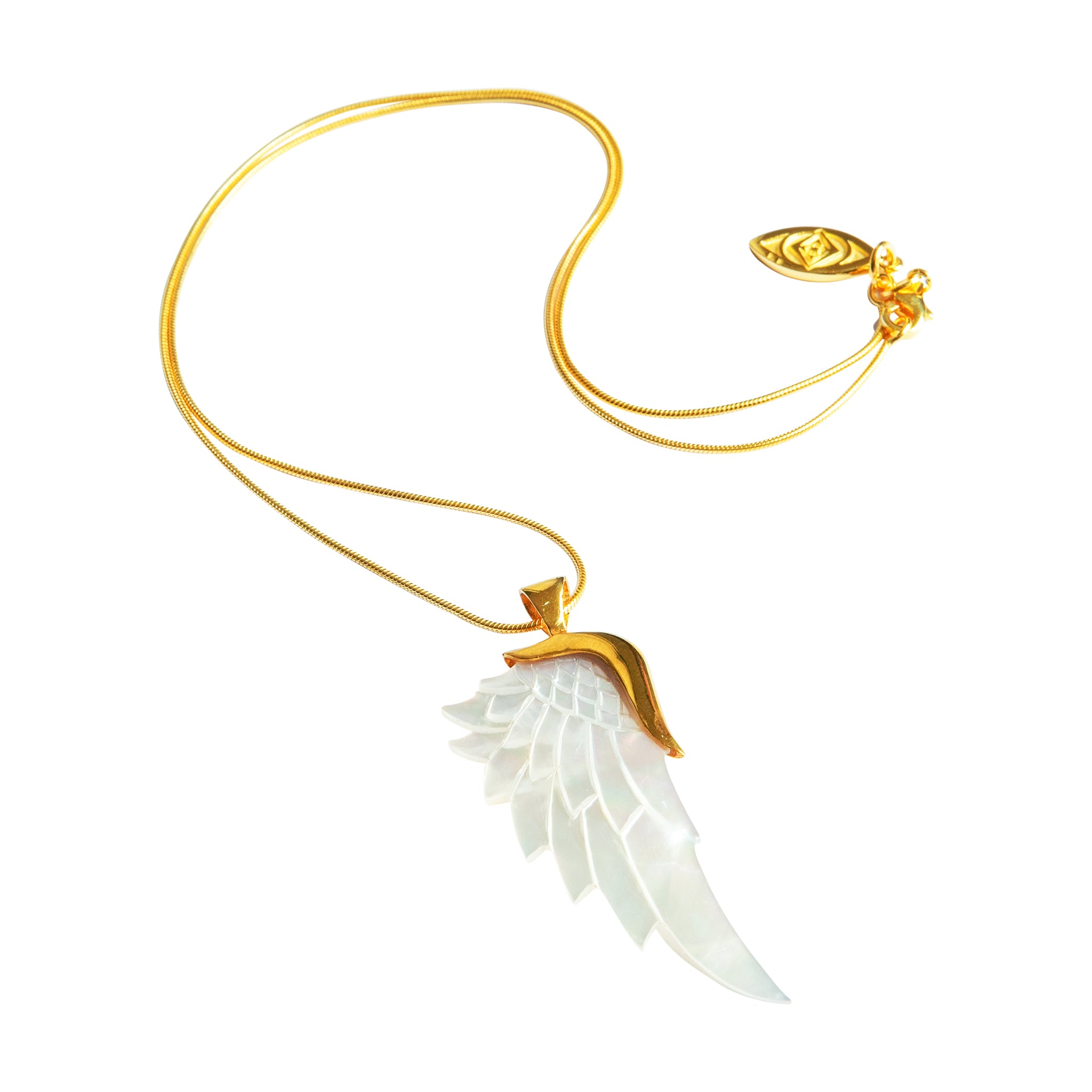 angelica white gold angel wing necklace to Manifest abundance