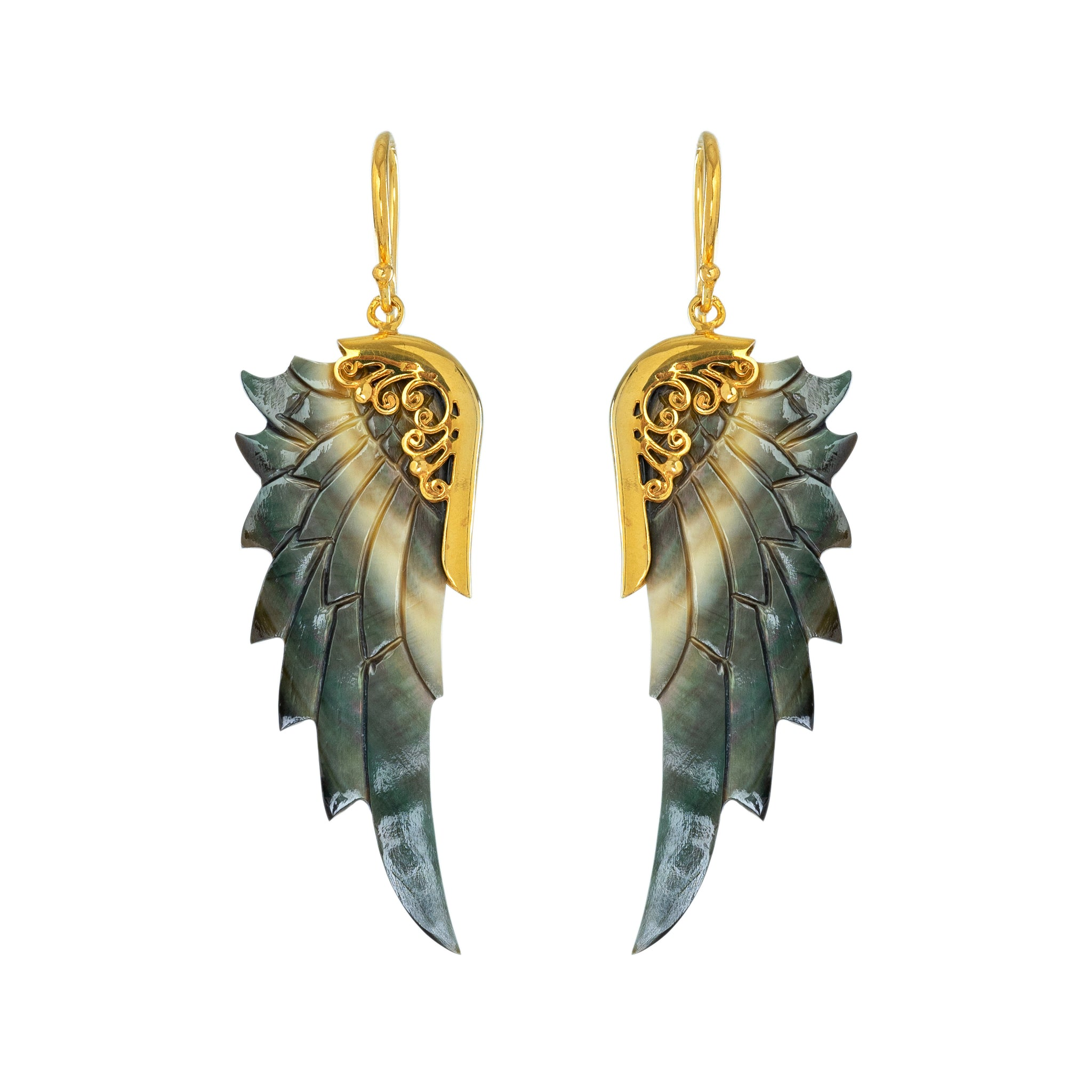 small dark angel gold angel wing earrings
