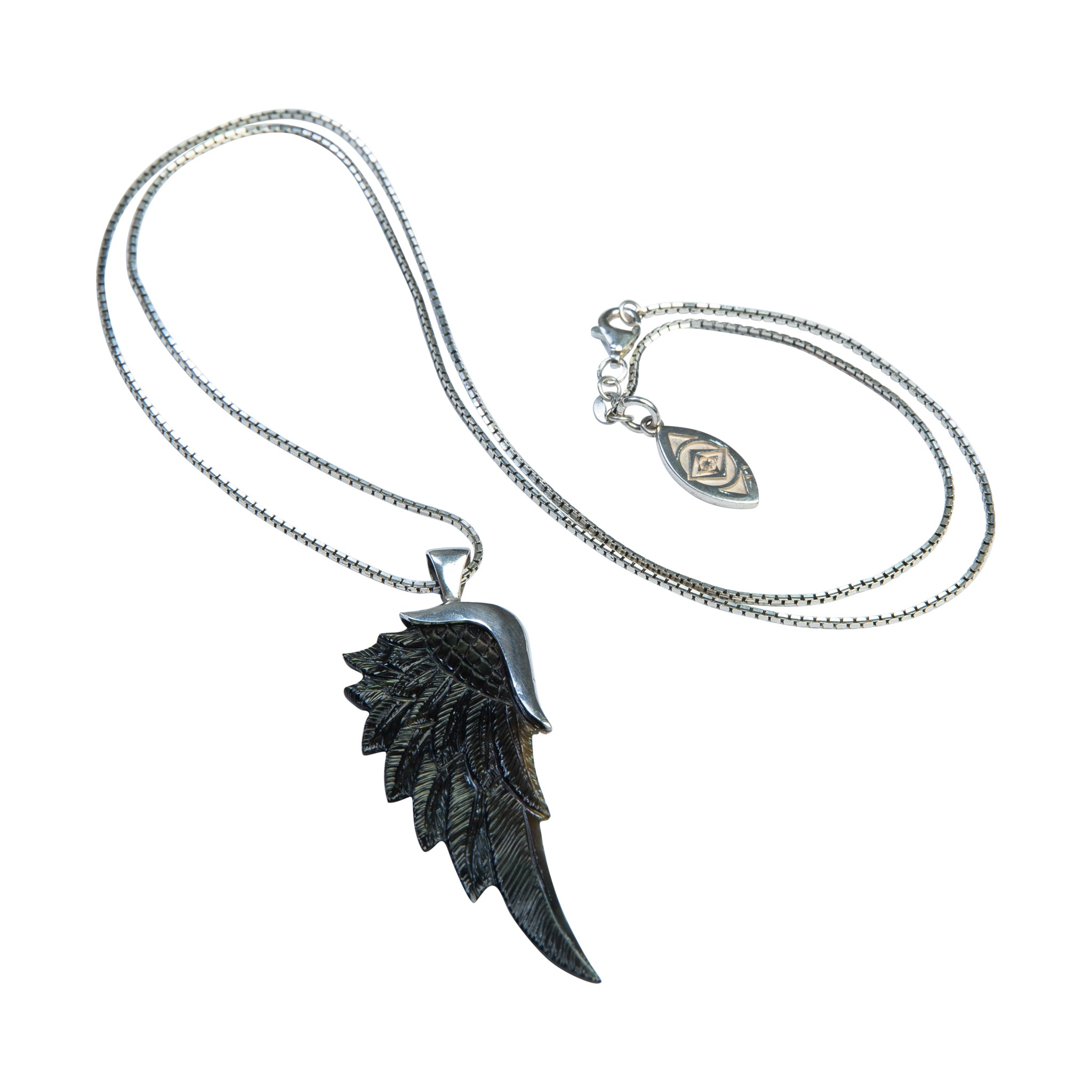 gabriel gunmetal silver angel wing necklace