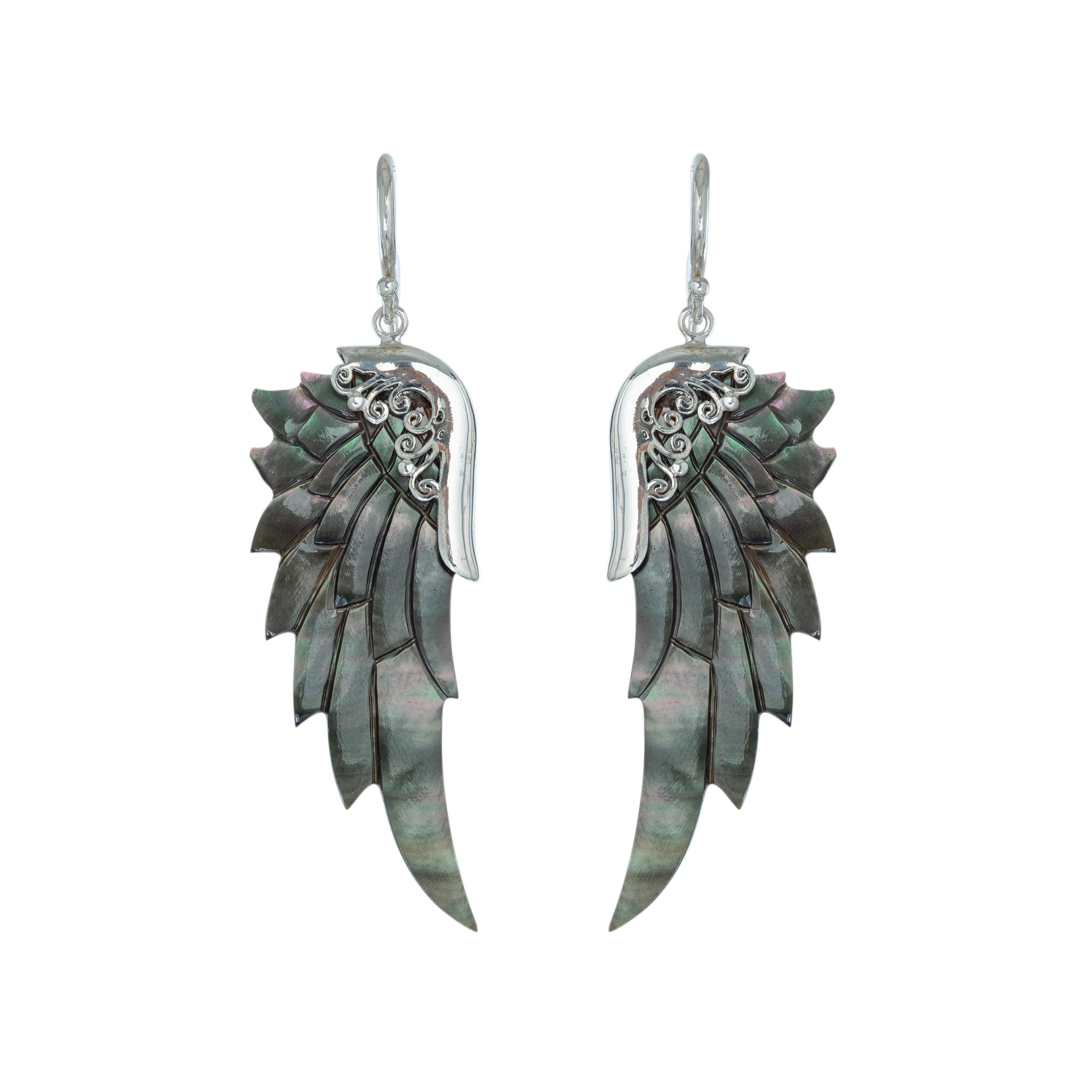 small silver midnight angel wing earrings