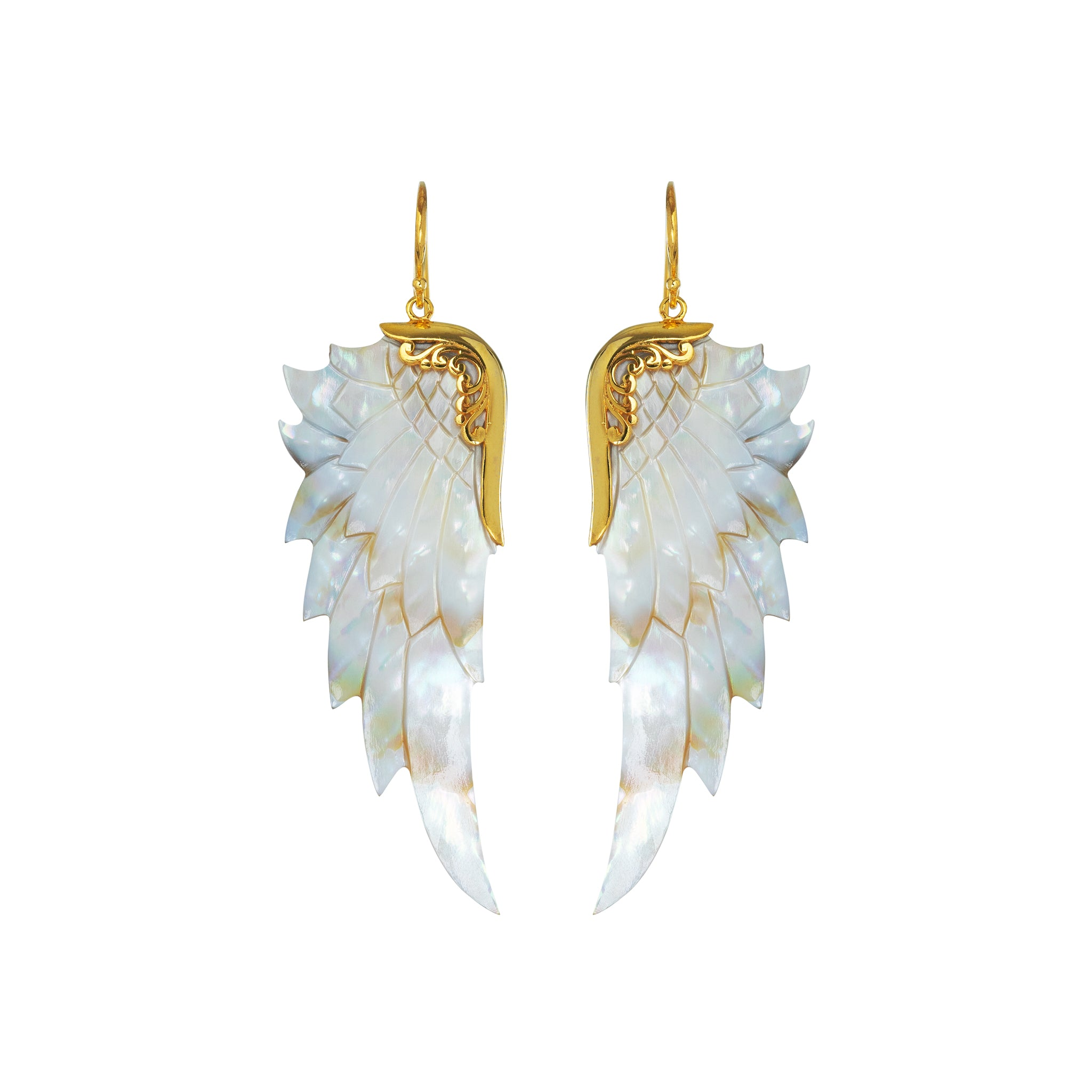 Large Opal Wonder Gold Angel Wing Earrings