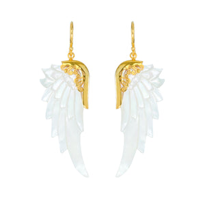 small white gold angel wings earrings