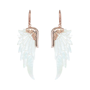 small white rose gold angel wing earrings