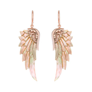 small rainbow rose gold angel wing earrings