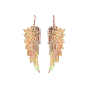 large rainbow rose gold angel wing earrings