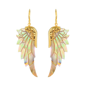 small rainbow gold angel wings earrings