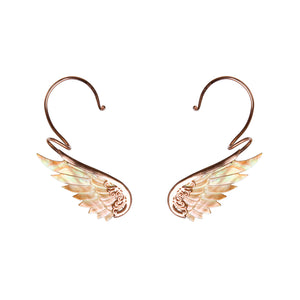 rainbow rose gold angel wing earcuffs