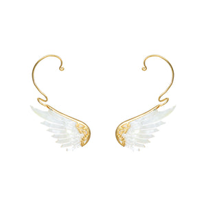 purist gold white angel wing earcuffs