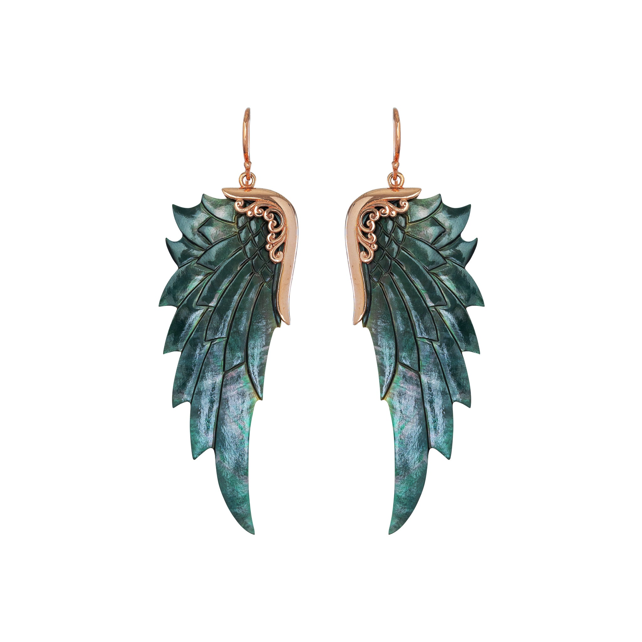 Large Black Rose Gold Angel Wing Earrings
