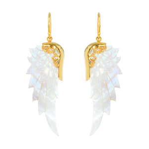 small opal wonder gold angel wing earrings