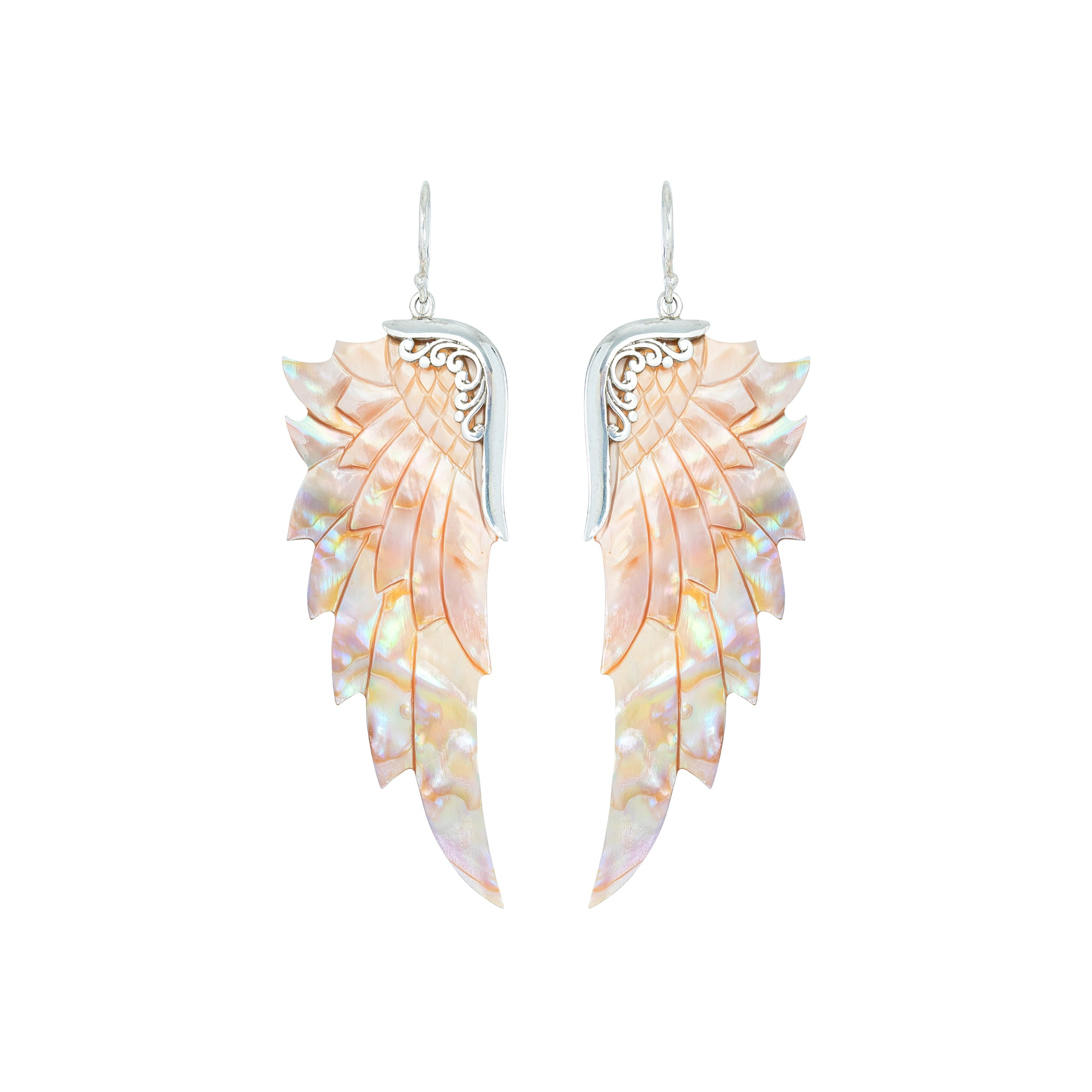 Large Opal Wonder Silver Angel Wing Earrings