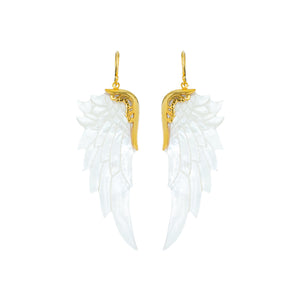 large white angel wing earrings gold