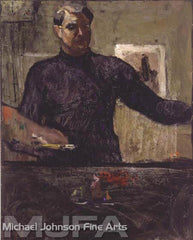 An early California oil painting by Armin Carl Hansen, titled Self Portrait with Palette, 1914