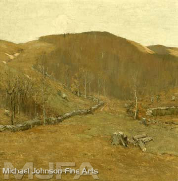 An early California oil painting by Bruce Crane, titled The Hills