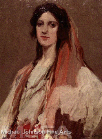 An early California oil painting by Geneve Rixford Sargeant, titled Gypsy Woman