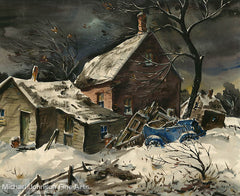 An early California oil painting by Henry Martin Gasser, titled Abandoned House in Winter
