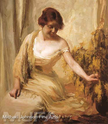 An early California oil painting by Jean Mannheim, titled Portrait of a Woman