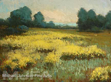 An early California oil painting by John Marshall Gamble, titled Yellow Lupine