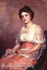 An early California oil painting by Joseph Kleitsch, titled Woman in Pink