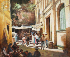 Richmond Kelsey - Street Market, Mexico, c. 1950's, an original California oil painting for sale, original California art for sale - CaliforniaWatercolor.com