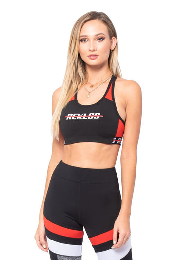 Reckless Girls Womens - Activewear - Tops Layla Sports Bra - Black/Red