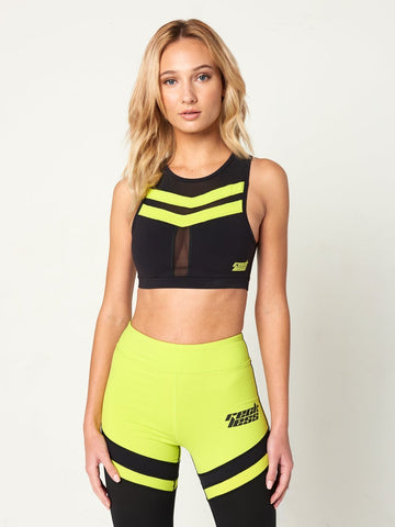 Reckless Girls Womens - Activewear - Tops Trina Sports Bra - Black/Green