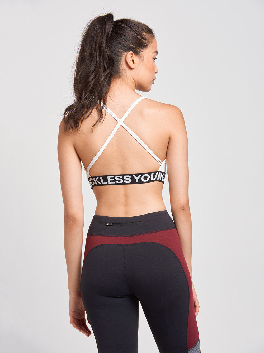 Reckless Girls Womens - Activewear - Tops Y&R Block Sports Bra- White/Black