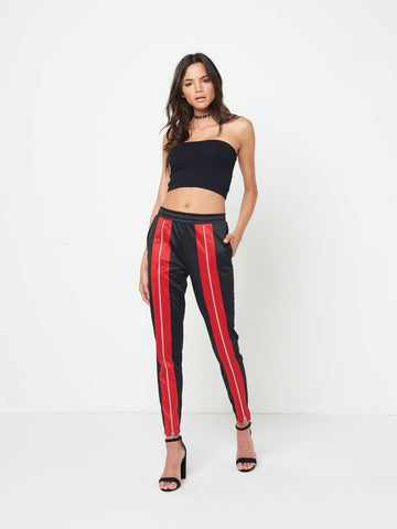 Gracie Track Pants- Black/Red
