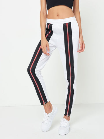 Jasmine Track Pants- White/Black