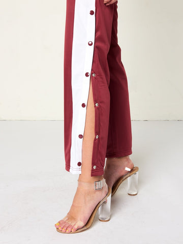 Kenya Mid-Way Tear Away Pants- Burgundy
