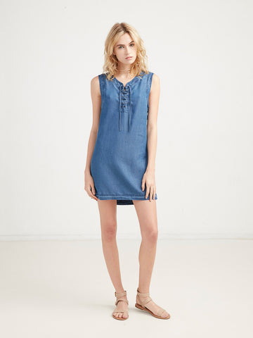 Nina Lace Up Denim Dress - Blue