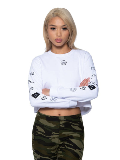 Reckless Girls Womens - Fleece - Hoodies Binary Crop Hoodie - White XS / WHITE