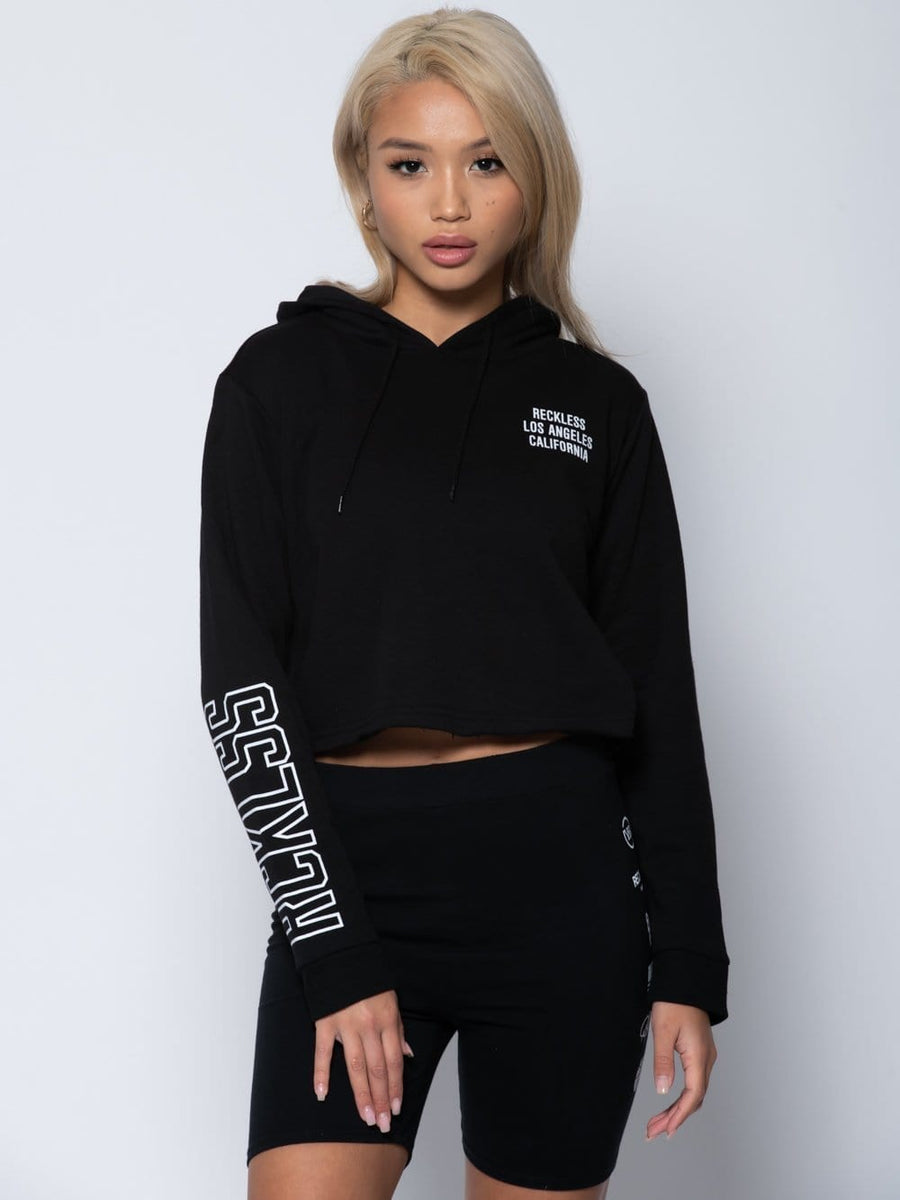 Reckless Girls Womens - Fleece - Hoodies Wayback Crop Hoodie - Black XS / BLACK