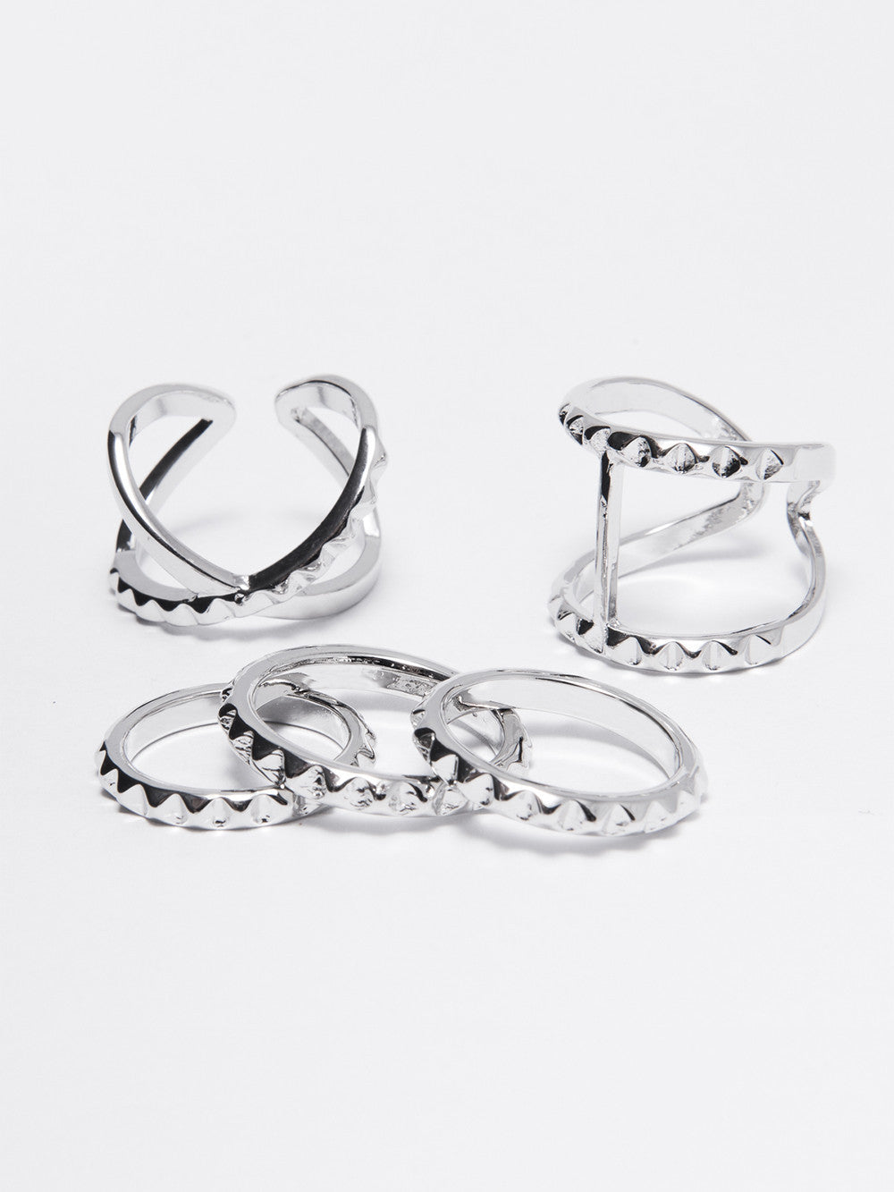 Reckless Girls Womens - Jewelry - Rings Silver Pyramid Rings