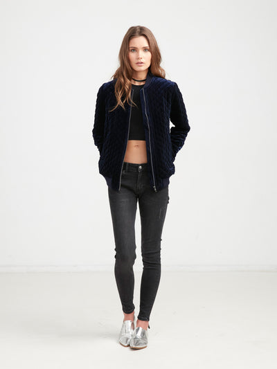 Reckless Girls Womens - Outerwear - Bombers / Varsity Come Thru Quilted Bomber Jacket - Navy