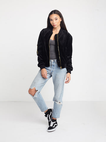 Shelby Velvet Bomber Jacket- Black